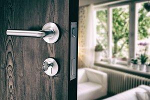 Brown door with metal doorknob