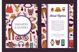 Vector hipster doodle icons card