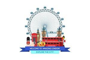 Vector cartoon London sights and