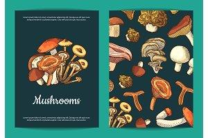 Vector hand drawn mushrooms brochure