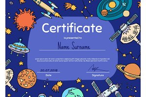 Vector diploma or certificate for