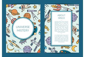 Vector hand drawn space science