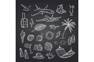 Vector summer travel elements on