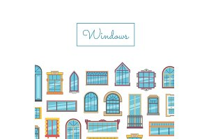 Vector window flat icons with place