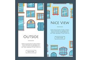 Vector window flat icons web banners