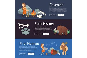 Vector stone age cartoon cavemen