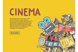 Vector cinema doodle icons on yellow