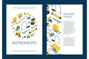 Vector construction tools isometric
