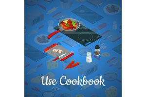 Vector cooking food isometric blue
