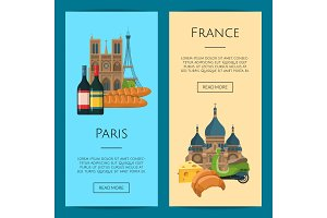 Vector cartoon France sights objects