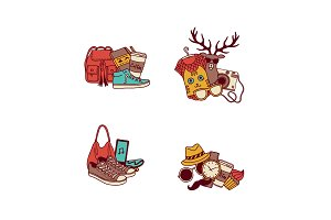 Vector hipster doodle icons