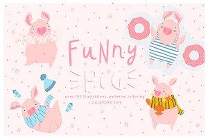 Funny pig - calendar 2019