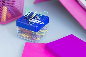 paperclip box on a working desk