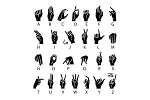 vector language of deaf-mutes hand.