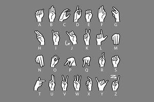 Hand Drawn Sketch of Finger Spelling