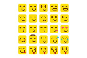 vector yellow Set of smile icons