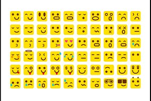 vector yellow Set smile icons emoji