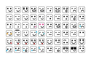 vector black Set smile icons emoji
