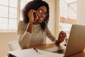 Woman entrepreneur managing business