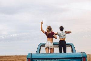 Women enjoying themselves on road