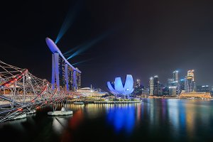 Marina Bay Sands with colorful light