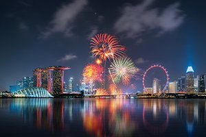 Fireworks of Singapore National Day