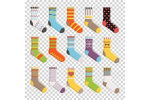 Flat design colorful socks set