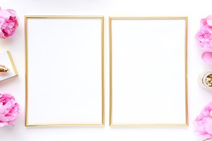 Styled photo - pink & gold, 2 frames