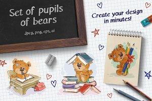 Set of pupils of bears (School)