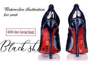 Black shoes - watercolor prints