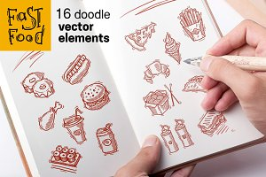 16 doodle fast food vector elements