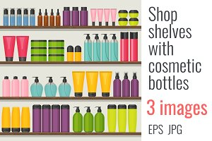 Shop shelves with cosmetic bottles
