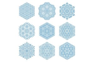 Set of Vector Blue Snowflakes