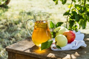Fresh cold apple juice