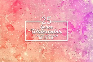 25 Space Watercolor background