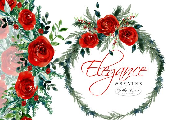 Watercolor Red Flowers - Christmas