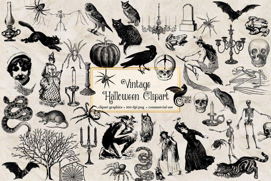 Halloween Vintage Clipart.Vintage Halloween Clipart