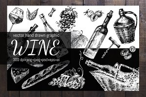 Hand drawn vector wine illustrations