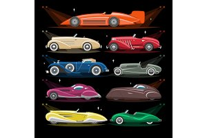 Art deco car vector retro luxury