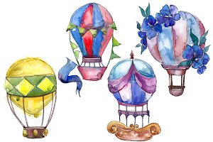 Aquarelle hot air balloon PNG set