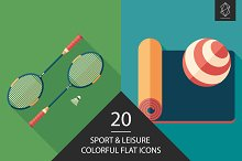 Sport and leisure flat icon set