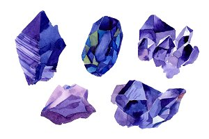Aquarelle geometric blue crystal PNG