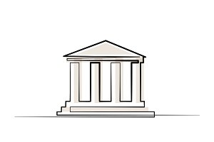 Continuous one line drawing. Column