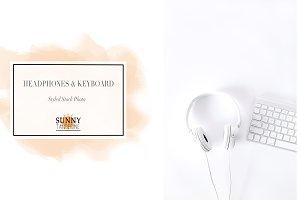 Headphones and Keyboard Stock Photo