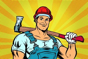pop art lumberjack woodcutter with