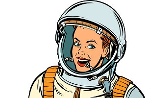 smiling woman astronaut. Isolate on