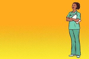 pop art African nurse. Medicine and