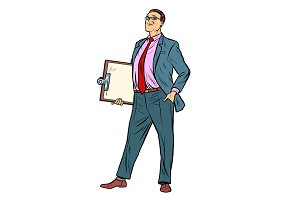 pop art Businessman with clipboard