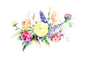Bouquet summer flowers PNG set
