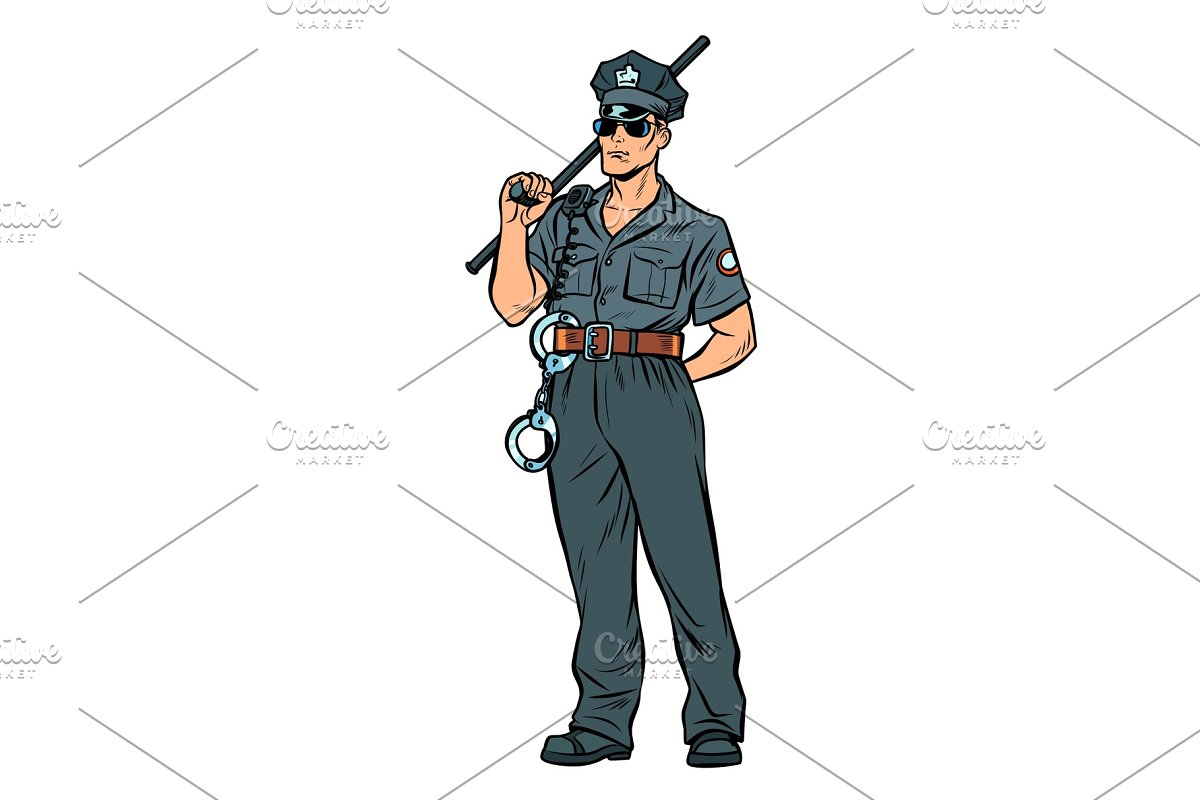 6f69f215865afb pop art Cop with a police baton ~ Illustrations ~ Creative Market